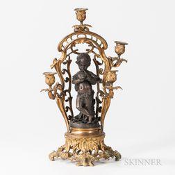 Four-light Gilt and Patinated Bronze Candelabra