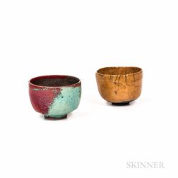 Two Makoto Yabe (Japanese/American, 1947-2005) Raku Tea Bowls