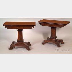 Two Classical Mahogany Carved and Flame Mahogany Veneer Gaming Tables