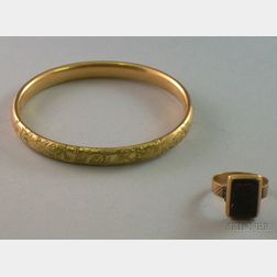 Victorian 10kt Gold Onyx Cameo Ring and Gilt-Metal Bangle.