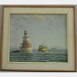 Attributed to William Hurd Lawrence (American, 1866-1938)      Robbins Reef Lighthouse, Upper Bay, New York