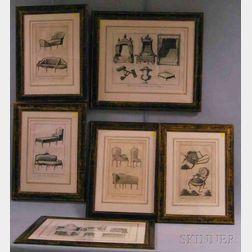 Six Framed French Furniture Prints from Recueil de Planches sur Les Sciences, Les   Arts Liberaux, et Les Arts Mechaniques