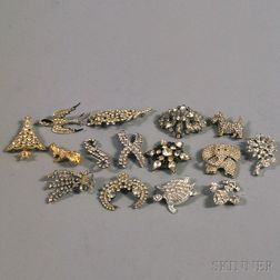Small Group of Vintage Paste and Rhinestone Brooches