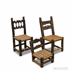 Three Spanish Carved Oak Woven-seat Side Chairs