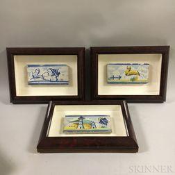 Six Framed Polychrome Pottery Tiles