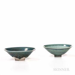 Two Makoto Yabe (Japanese/American, 1947-2005) Celadon Tea Bowls