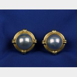 18kt Gold and Mabe Pearl Ear Clips