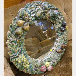 Della Robbia Type Majolica Glazed Ceramic Wreath with Mirror