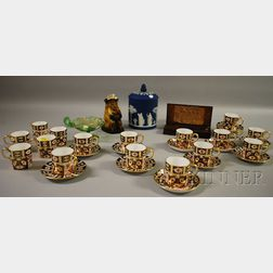 Set of Sixteen Royal Crown Derby Gilt Imari Palette Porcelain Demitasse Cups and Saucers, a Wedgwood Dark Blue Jasper Dip Biscuit Ja...