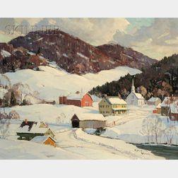 Robert Shaw Wesson (American, 1902-1967)      Winter Village at Tunbridge V.T.