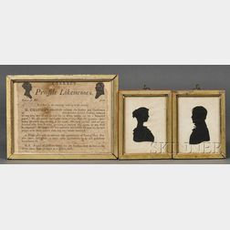 Pair of Moses Chapman Silhouettes and His Framed Silhouette Advertisement