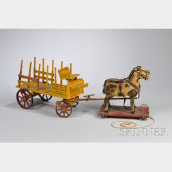 "S.A. Smith Mfg. Co. Painted Wood Horse-drawn ""Express"" Wagon Pull-toy"