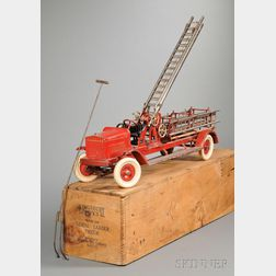 Kingsbury Aerial Ladder Toy Fire Truck with Original Box and Pull