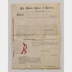 Madison, James (1751-1836) and James Monroe (1758-1831)   Letters Patent, Signed 18 January 1817.