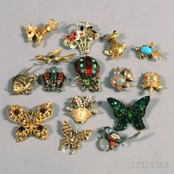 Small Group of Assorted Costume Brooches