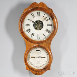 Ithaca Rosewood No. 4 Hanging Office Calendar Clock