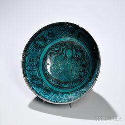 Turquoise and Black Kashan Deep Bowl