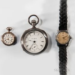 Omega Stainless Steel Wristwatch and Two Pocket Watches