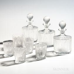 "Lalique ""Femmes Antiques"" Barware Set"