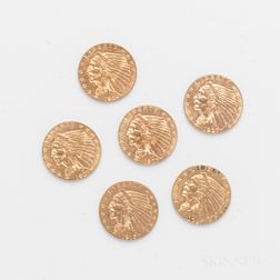 Six $2.50 Indian Head Gold Coins