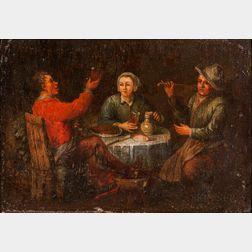 Dutch School, 17th Century Style      Three Figures at a Tavern Table