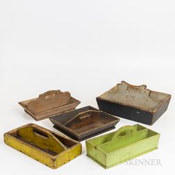 Five Painted Knife Boxes