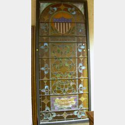 Large 19th Century Architectural Leaded Colored and Stained Glass Memorial Panel