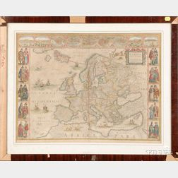 Hand-Colored Map of Europe by Willem Blaeu