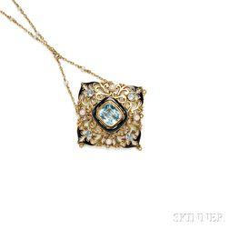 Arts & Crafts Gold, Aquamarine, and Enamel Pendant, Frank Gardner Hale