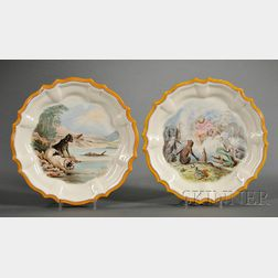 Two Wedgwood Hand-painted Queen's Ware Spanish-shaped Plates