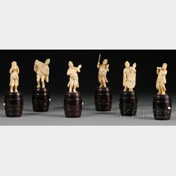 Six Continental Carved Ivory and Wood-mounted Figures of Musicians
