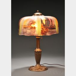 Scenic Reverse-painted Glass Table Lamp