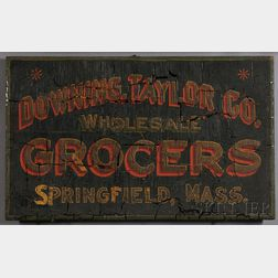 "Painted ""DOWNING, TAYLOR Co. WHOLESALE GROCERS SPRINGFIELD, MASS."" Sign"