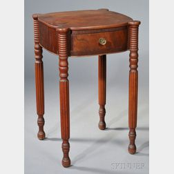 Federal Red-stained Carved Birch and Mahogany Veneer One-drawer Stand