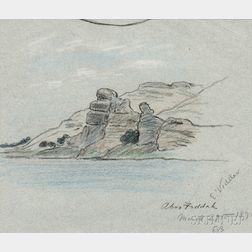 Elihu Vedder (American, 1836-1923)    Egyptian Landscape Sketch