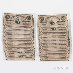 Five Runs of 1864 Confederate Consecutive Serial Number Notes, T66, Cr. 499
