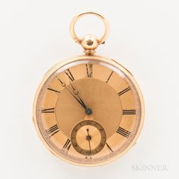18kt Gold Key-wind Open-face Watch