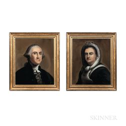 Pair of Reverse Paintings on Glass of George and Martha Washington