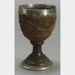 English Silver Mounted Treenware Cup