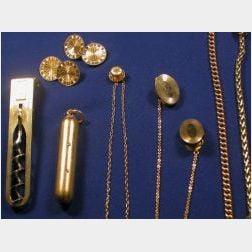 Group of Edwardian 14kt Gold Gentleman's Items
