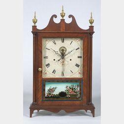 Federal Mahogany and Mahogany Veneer Pillar and Scroll Clock