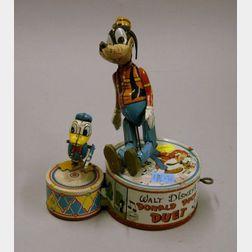 Walt Disney Production Lithographed Tin Wind-up Donald Duck Duet.