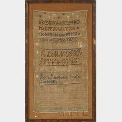 Framed 1816 Mary Rhodes Duntin, Cambridge Needlework Sampler