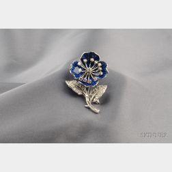 Platinum, Diamond, and Enamel Wild Rose Clip/Brooch, Boucheron, London