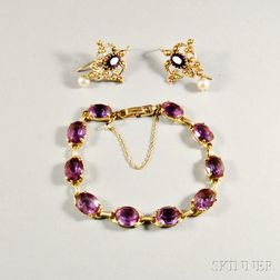 14kt Gold and Amethyst Bracelet and Earpendants