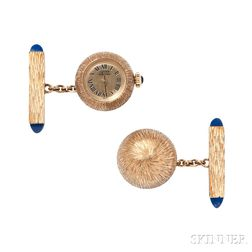 14kt Gold and Sodalite Ball Watch Cuff Links, Lucien Piccard