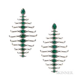 18kt White Gold, Emerald, Pearl, and Diamond Earrings, Umrao