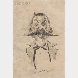 Everett Shinn  (American, 1876-1953)      Head of a Man with Thick Handlebar Moustache