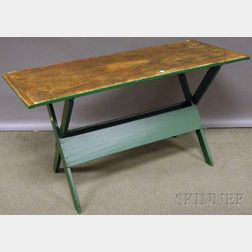 Scrubbed Pine Breadboard-top Green-painted Sawbuck Table
