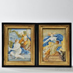 Pair of Faience Earthenware Panels
